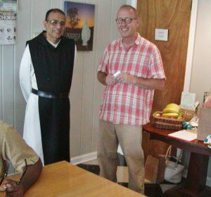 Abbot Gerard welcoming Mike Sauter