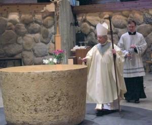 Bishop Matano blessing altar